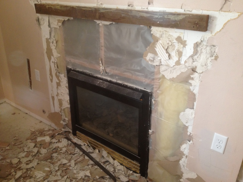 ...here goes the old fireplace...