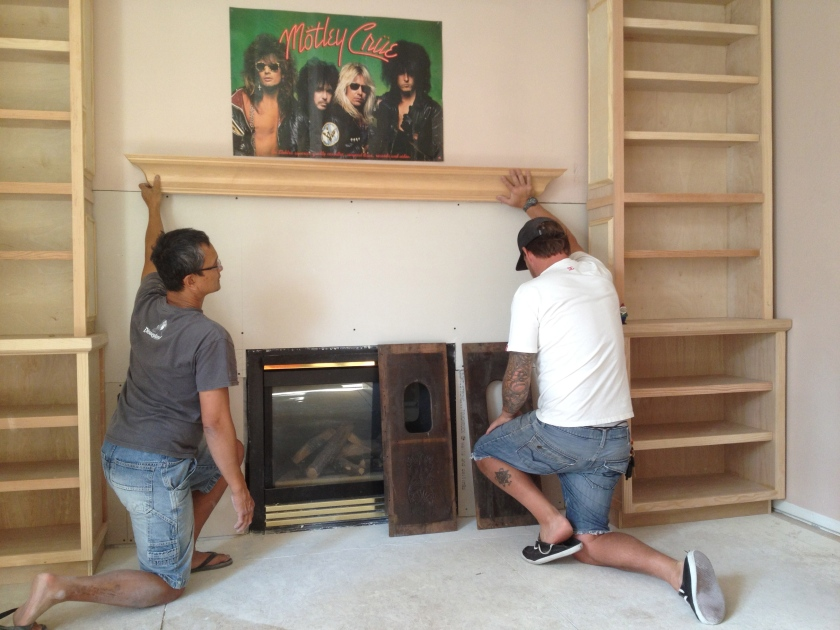...figuring out the new library fireplace...